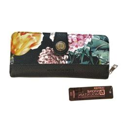 Women's Stone Mountain Pebbled Leather Black/Floral Clutch W