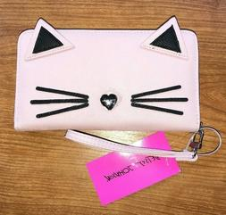 Betsey Johnson Women's Pink Kitty Kitsch Zip Around Wristlet