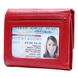 Kinzd Women Trifold Wallet RFID Blocking Wallet Genuine Leat