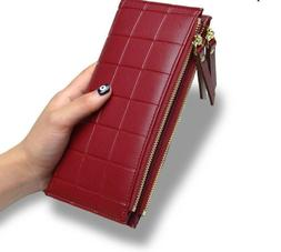 Women Wallet With Double Zipper Phone Bag Coin Purse Money C