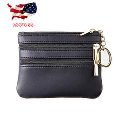 Womens Leather Coin Change Purse Pouch Slim Minimalist Front