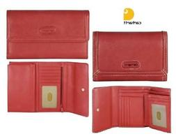 CARHARTT Womens RED PEBBLED Leather CHECKBOOK CLUTCH WALLET