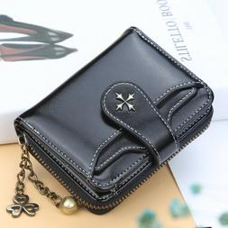 Womens Small Leather Wallet Credit Card Coin Holder Purse Cl