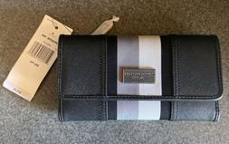 👝TOMMY HILFIGER WOMENS WALLET Trifold Checkbook Black Whi