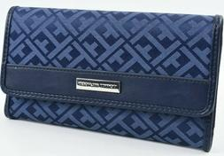TOMMY HILFIGER WOMENS WALLET Trifold Jacquard Checkbook Blue