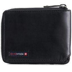 Alpine Swiss Zipper Bifold Wallet for Men Women RFID Protect